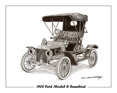 Drawing - 1908 Ford Model R Runabout by Jack Pumphrey