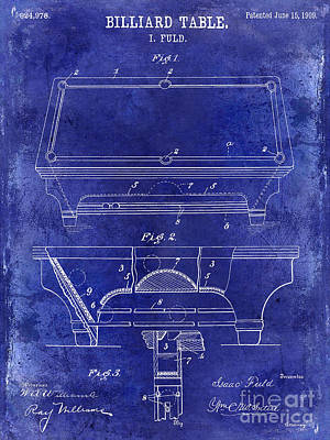Cue Ball Photograph - 1909 Billiard Table Patent Drawing Blue by Jon Neidert