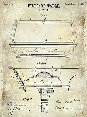 Cue Ball Photograph - 1909 Billiard Table Patent Drawing  by Jon Neidert