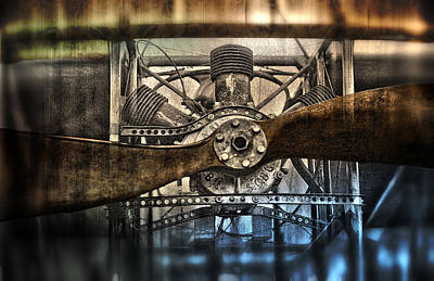 1909 Biplane Engine And Propeller Art Print