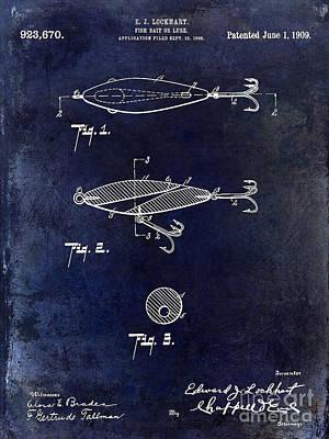 1909 Fishing Lure Patent Drawing Blue Art Print by Jon Neidert