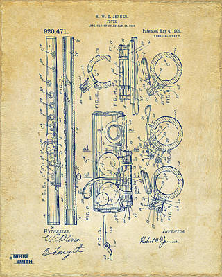 Marching Band Drawing - 1909 Flute Patent - Vintage by Nikki Marie Smith