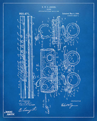 Marching Band Drawing - 1909 Flute Patent - Blueprint by Nikki Marie Smith