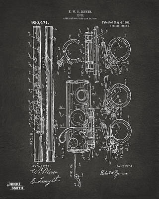 1909 Flute Patent - Gray Art Print by Nikki Marie Smith