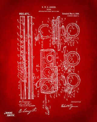 1909 Flute Patent In Red Art Print by Nikki Marie Smith