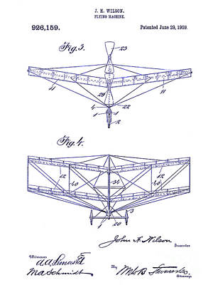Airliners Photograph - 1909 Flying Machine Patent Drawing Blueprint by Jon Neidert