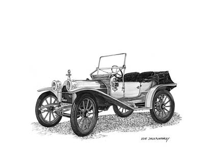 Drawing -  Hupp Model 20 Roadster by Jack Pumphrey