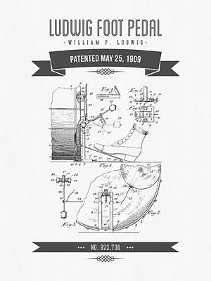 Drum Mixed Media - 1909 Ludwig Foot Pedal Patent Drawing by Aged Pixel