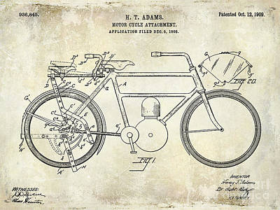 Harley Davidson Photograph - 1909 Motorcycle Patent Drawing 2 by Jon Neidert