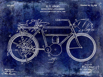 Harley Davidson Photograph - 1909 Motorcycle Patent Drawing Blue by Jon Neidert