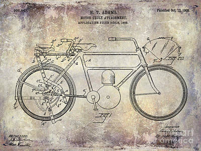 Harley Davidson Photograph - 1909 Motorcycle Patent Drawing  by Jon Neidert