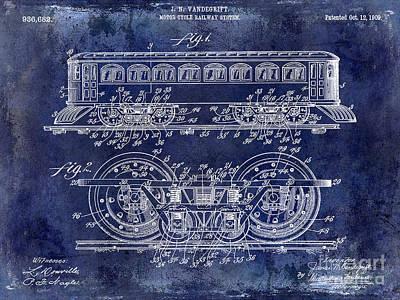 Photograph - 1909 Railway System Patent Drawing Blue by Jon Neidert