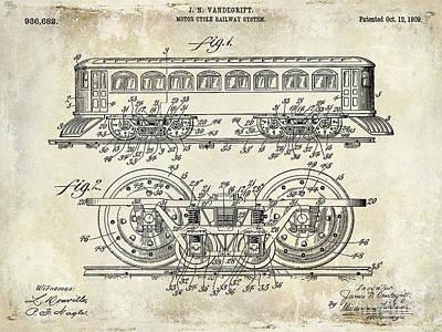 Photograph - 1909 Railway System Patent Drawing  by Jon Neidert