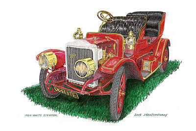Drawing -  White Steam Car 1909 by Jack Pumphrey