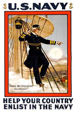Digital Art - 1910 - United States Navy Recruiting Poster - Color by John Madison