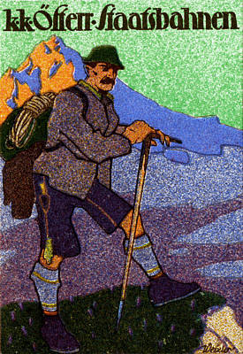 Painting - 1910 Austrian Mountain Climbing Poster by Historic Image