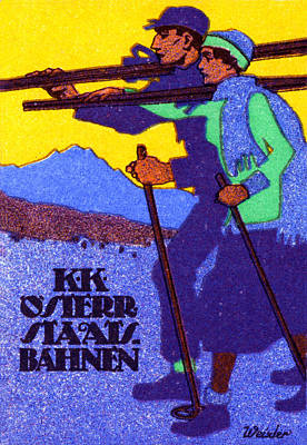 Cross-country Skiing Painting - 1910 Austrian Ski Poster by Historic Image