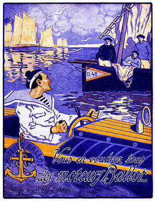 Speed Boat Painting - 1910 Ballot Nautical Motors by Historic Image