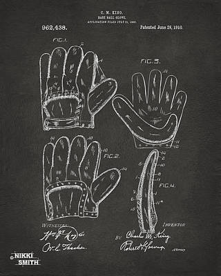 Baseball Glove Digital Art - 1910 Baseball Glove Patent Artwork - Gray by Nikki Marie Smith