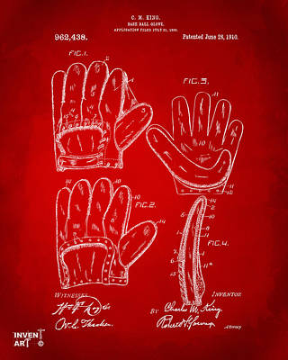 Baseball Gloves Wall Art - Digital Art - 1910 Baseball Glove Patent Artwork Red by Nikki Marie Smith