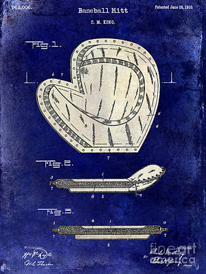 Baseball Gloves Wall Art - Photograph - 1910 Baseball Patent Drawing 2 Tone Blue by Jon Neidert