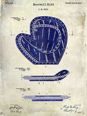 Baseball Mitt Photograph - 1910 Baseball Patent Drawing 2 Tone by Jon Neidert