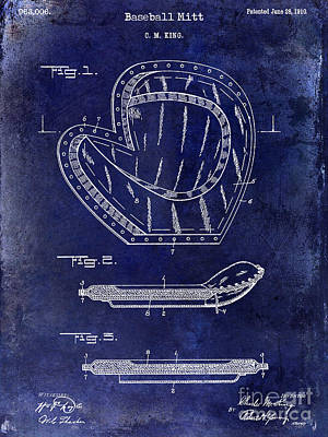 Baseball Mitt Photograph - 1910 Baseball Patent Drawing Blue by Jon Neidert
