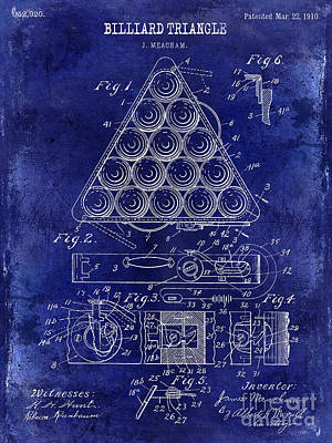Cue Ball Photograph - 1910 Billiard Triangle Patent Drawing Blue by Jon Neidert
