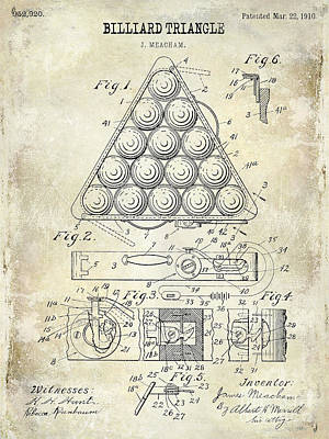 Wall Art - Photograph - 1910 Billiard Triangle Patent Drawing by Jon Neidert
