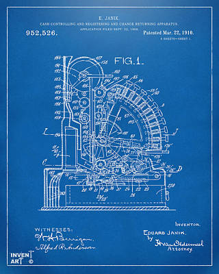 Cash Register Digital Art - 1910 Cash Register Patent Blueprint by Nikki Marie Smith