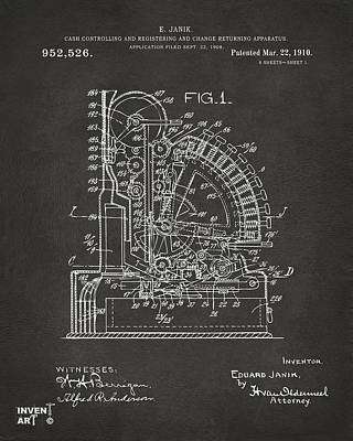 Cash Register Digital Art - 1910 Cash Register Patent Gray by Nikki Marie Smith