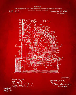Cash Register Digital Art - 1910 Cash Register Patent Red by Nikki Marie Smith