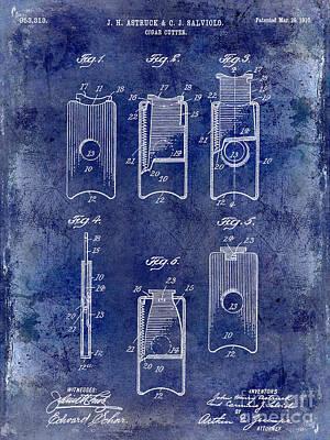 Cuban Photograph - 1910 Cigar Cutter Patent Drawing Blue by Jon Neidert