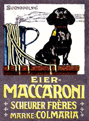 Italian Kitchen Painting - 1910 Dachshund And Macaroni Poster    by Historic Image