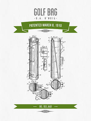 1910 Golf Bag Patent Drawing - Retro Green Print by Aged Pixel