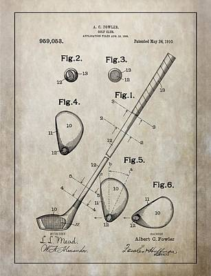 Golf Mixed Media - 1910 Golf Club Patent by Dan Sproul