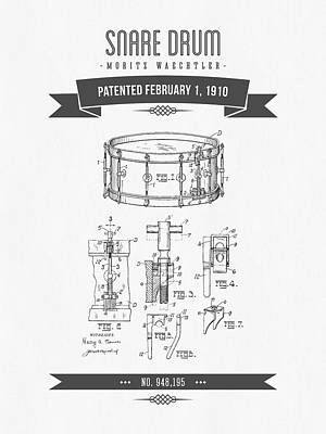 Drum Mixed Media - 1910 Snare Drum Patent Drawing by Aged Pixel