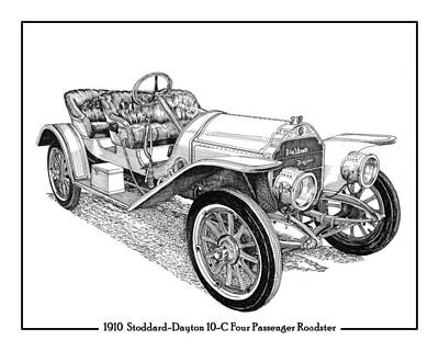 Drawing - Stoddard Dayton 10 C Roadster by Jack Pumphrey