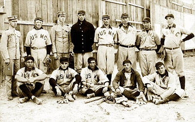 Photograph - 1910 United States Marine Corps Baseball by Historic Image