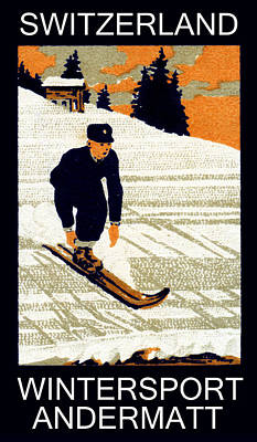 1910 Wintersport Andermatt Art Print by Historic Image
