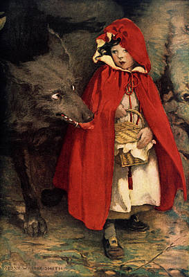 Fairies Painting - 1910s 1911 Illustration Little Red by Vintage Images