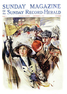 Suffrage Painting - 1910s 1912 Cover Sunday Magazine by Vintage Images