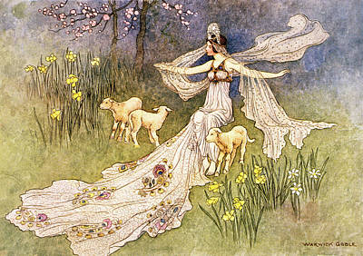 Daffodils Painting - 1910s Illustration Fairy Tale The Fairy by Vintage Images
