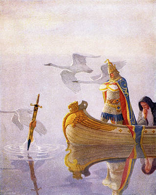 Power Painting - 1910s King Arthur Sword Of Power by Vintage Images