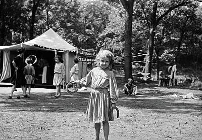 Pitching Photograph - 1910s Little Girl Pitching Horseshoes by Vintage Images