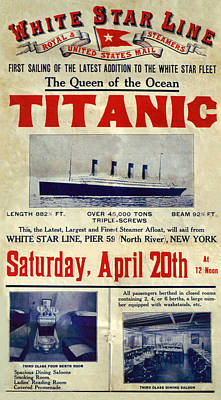 Titanic Drawing - 1910s Uk Titanic Poster by The Advertising Archives