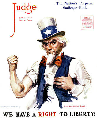 Fists Painting - 1910s Uncle Sam We Have A Right by Vintage Images