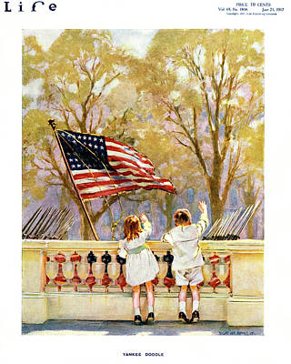Liberty Painting - 1910s Yankee Doodle Boy And Girl Waving by Vintage Images