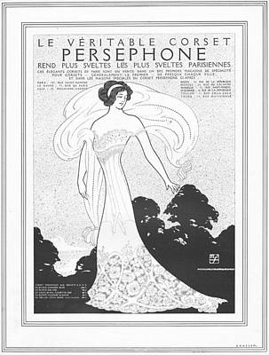 Priska Wettstein Pink Hues - 1911 Ad Corset Persephone Svelte Parisienne Art Nouveau by Max Fischer
