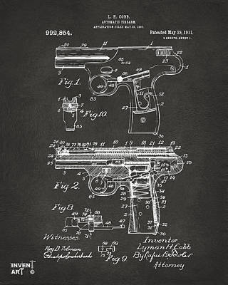 1911 Automatic Firearm Patent Artwork - Gray Art Print by Nikki Marie Smith